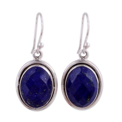 Lapis lazuli dangle earrings, 'Blue Destiny' - Lapis Lazuli Earrings Sterling Silver jewellery from India