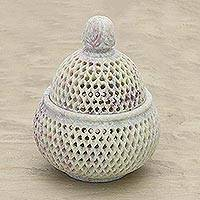 Soapstone jar, 'Lattice Lace' (large)
