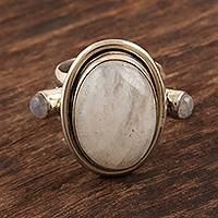 Rainbow moonstone cocktail ring, 'Full Bloom Moon' - Sterling Silver Rainbow Moonstone Cocktail Ring