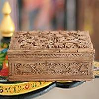 Wood jewelry box, 'Ivy Fantasy' - Hand Carved Wood jewellery Box