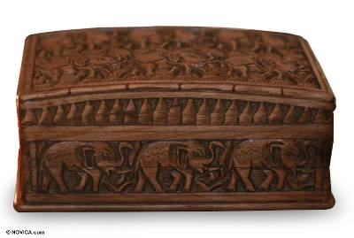Wood Elephant Jewelry Box Elephant Forest Novica