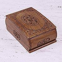 Wood jewelry box, 'Window to my Heart' - Floral Wood Jewelry Box