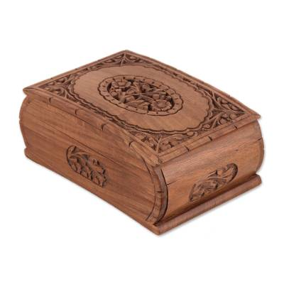 Wood jewelry box, 'Window to my Heart' - Floral Wood jewellery Box