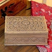 Wood jewelry box, 'Walnut Forest' - Handcrafted Wood Jewelry Box