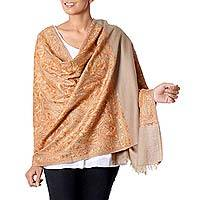 Wool shawl, 'Ginger Nutmeg' - Handwoven Wool Shawl India Wrap