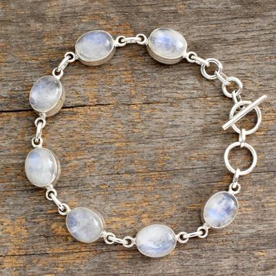 Rainbow moonstone link bracelet, 'Mysteries' - Rainbow Moonstone link bracelet