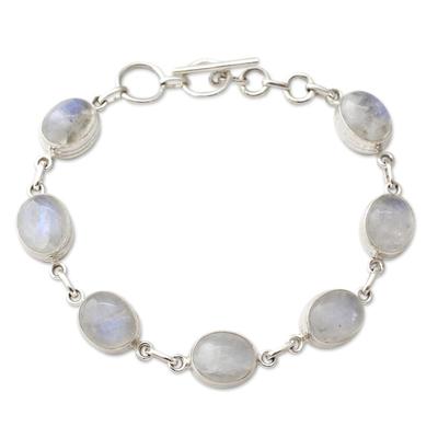Rainbow Moonstone link bracelet