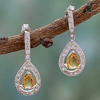 Citrine dangle earrings, 'Golden Tear'