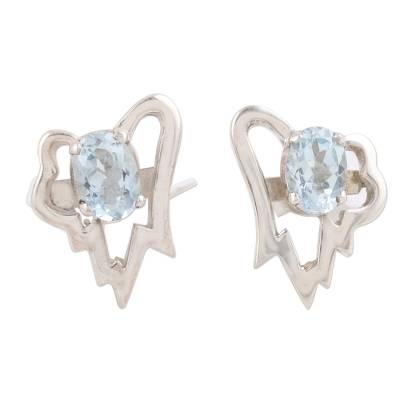 Handmade Sterling Silver and Blue Topaz Button Earrings