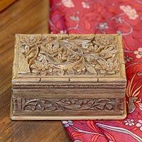 Walnut jewelry box, 'Enhancement' - Unique Wood Treasure Chest Jewelry Box with Floral Design