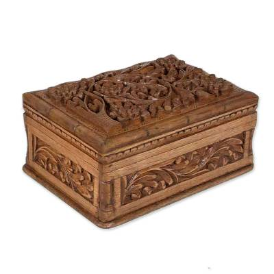Handcrafted Floral Wood Jewelry Box