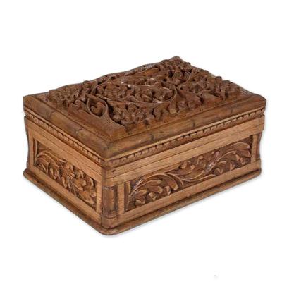 Walnut jewelry box, 'Enhancement' - Handcrafted Floral Wood jewellery Box