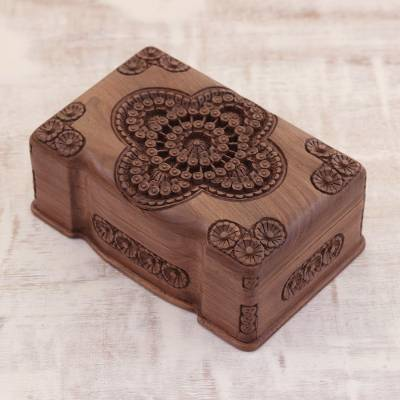 Wood jewelry box, 'Florid Cameo' - Floral Wood Jewelry Box