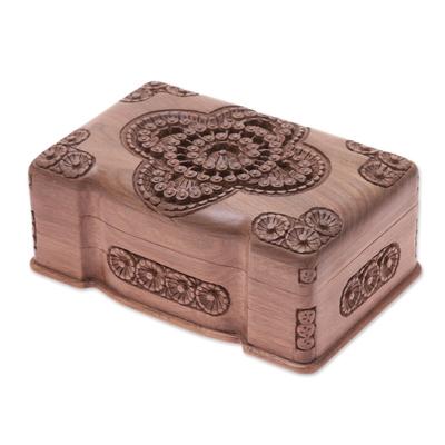 Wood jewelry box, 'Florid Cameo' - Floral Wood jewellery Box