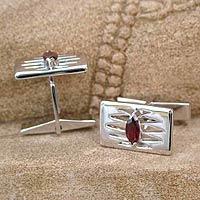 Garnet cufflinks, 'Flame' - Garnet cufflinks
