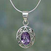 Amethyst pendant necklace, 'Lilac Dew'