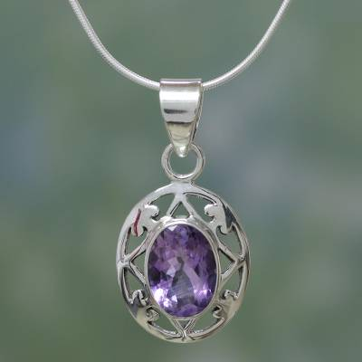 Amethyst pendant necklace, 'Lilac Dew' - Hand Made Sterling Silver and Amethyst Necklace
