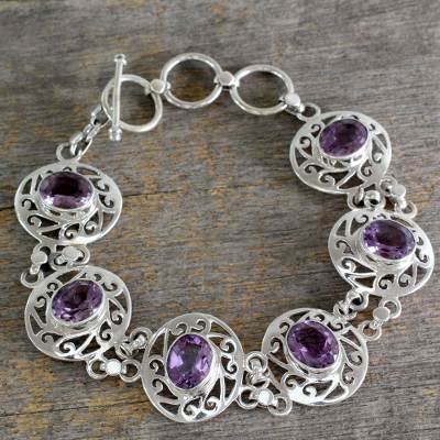Amethyst link bracelet, 'Lilac Dew' - Amethyst and Sterling Silver Bracelet from India
