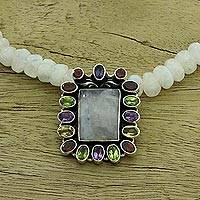 Rainbow moonstone pendant necklace, 'Misty Mirror'