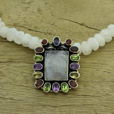 Rainbow moonstone pendant necklace, 'Misty Mirror' - Multigemstone Beaded Necklace Artisan Crafted Jewelry