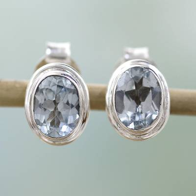Blue topaz stud earrings, 'Sky Duet' - Blue Topaz Earrings Sterling Silver Studs