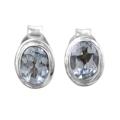 Blue Topaz Earrings Sterling Silver Studs