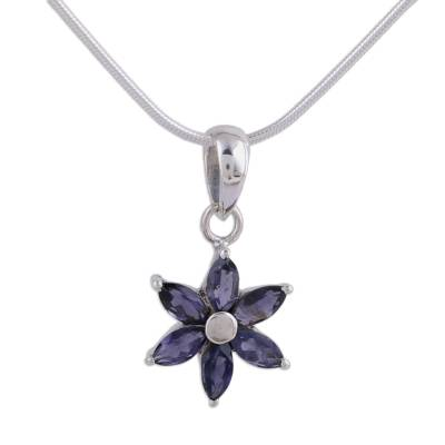 Floral Jewelry Iolite and Sterling Silver Necklace