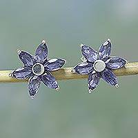 Iolite flower earrings, 'Ocean Daisy' - Iolite Earrings Hand Crafted Sterling Silver Button Jewelry