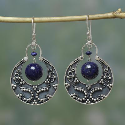 Lapis lazuli earrings, 'Royal Moon' - Sterling Silver Lapis Lazuli Earrings Artisan Jewelry