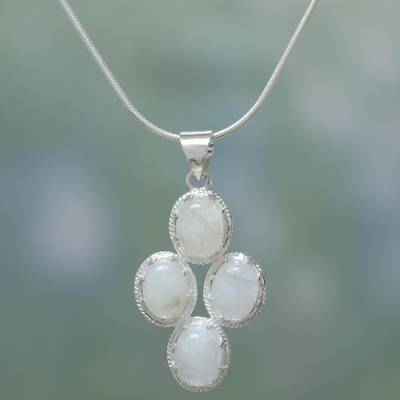 Rainbow moonstone pendant necklace, 'Morning Frost' - Rainbow Moonstone Necklace in Sterling Silver from India