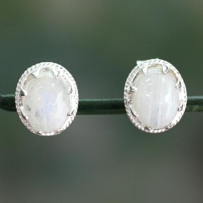 Moonstone stud earrings, 'Morning Frost' - Moonstone stud earrings