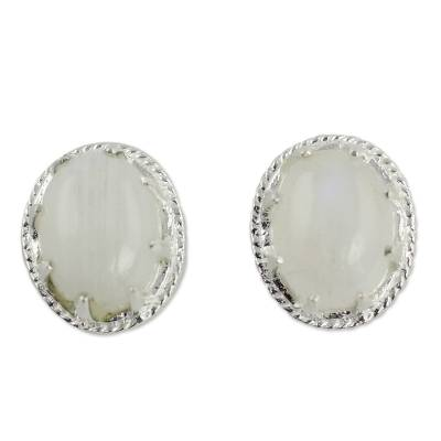 Artisan Made Moonstone Stud Earrings