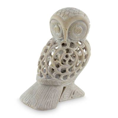 Soapstone sculpture, 'Mother Owl' - Artisan Crafted Indian Soapstone Jali Sculpture