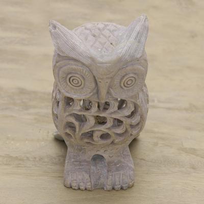 Natural soapstone hand carved sculpture lattice owl novica