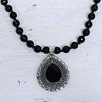 Onyx pendant necklace, 'Floral Tear' - Onyx and Sterling Silver Necklace Fair Trade Jewelry