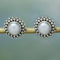 Pearl button earrings, 'Moonbeams' - Hand Made Pearl Bridal Sterling Silver Earrings
