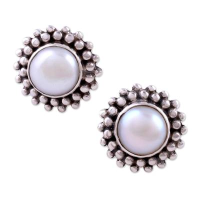 Hand Made Pearl Bridal Sterling Silver Earrings