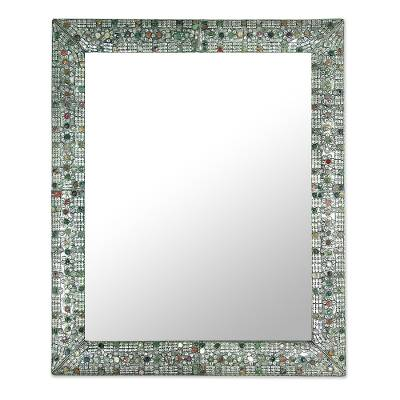 Mirror, 'Treasure Chest' - Collectible Repousse Brass Wall Mirror