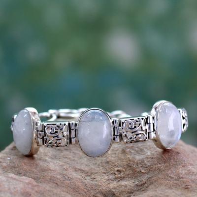 Moonstone link bracelet, 'Floral Legends' - Artisan Crafted Moonstone Sterling Silver Bracelet