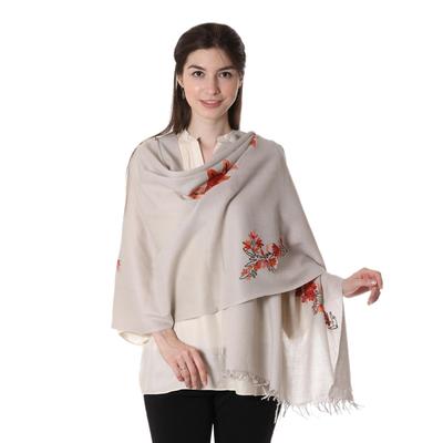 Wool shawl, 'Bronze Chrysanthemum' - Wool shawl