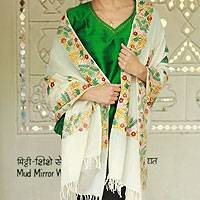 Wool shawl, 'Floral Daydream'
