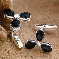Onyx cufflinks, 'Black Clover' - Handcrafted Men's Sterling Silver Onyx Cufflinks