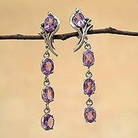 Amethyst dangle earrings, 'Lilac Cascade' - Amethyst dangle earrings