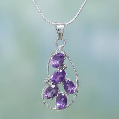 Amethyst pendant necklace, 'Sweet Wisteria' - Amethyst pendant necklace