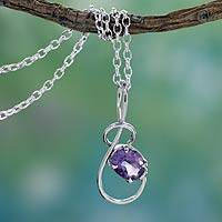 Amethyst pendant necklace, 'Melody'