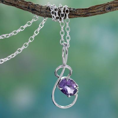 Amethyst pendant necklace, 'Melody' - Amethyst pendant necklace