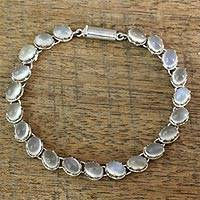 Moonstone bracelet, 'Cloud Circlet' - Unique Sterling Silver and Moonstone Bracelet from India