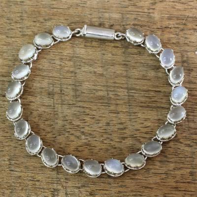 Moonstone bracelet, 'Cloud Circlet' - Indian Bracelet Moonstone on Sterling Silver