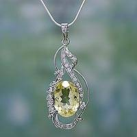 Citrine necklace, 'Sun Goddess' - Hand Crafted Jewelry Citrine and Sterling Silver Necklace