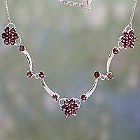 Garnet floral necklace, 'Blushing Daisies' - Garnet Flowers on Sterling Silver Necklace from India